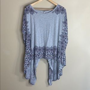 Free People gray short sleeve top floral detail